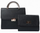 Y-D5.2 BAG419-003A PU Bag Set 2pcs  25x23x10cm Black