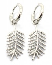 D-B18.2 E2033-011S S. Steel 10mm Earring with 20mm Leaf Silver