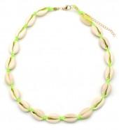 D-C21.3 N316-012 Choker Necklace Shells 37-43cm Bright Green