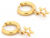 A-C7.3 E1842-005 Stainless Steel Earrings Star Gold 10mm with 8mm Charm