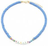 C-C16.3 N2030-001A1 Beaded Necklace LOVE Blue
