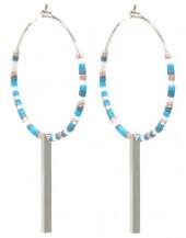 G-F17.7 E2019-042S Earrings Beads 3x5.5cm Blue-Silver