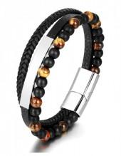 C-B1.2 B022-019-Steel Bracelet S.Steel - Leather - Stones 21cm