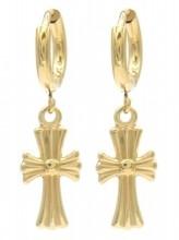 B-A18.4 E2121-017G S. Steel Earrings Cross 1x2.5cm Gold