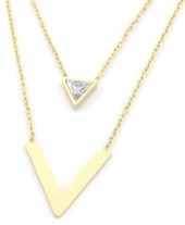 B-D21.2 N301-022 Layered S. Steel Necklace V with Crystal Gold