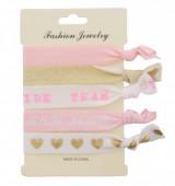 B-C22.1  Hairtie 6pcs H008-004 Bride-Glitter-Hearts-Team