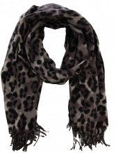 Z-E2.5 SCARF405-002 Soft Scarf with Leopard Print 180x70cm Grey