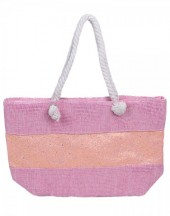 Y-C2.2  BAG327-001 Beach Bag with Glitters Pink