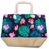 Y-D5.3 BAG528-001F Beach Bag Flowers and Leaves