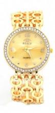 WA203-002 Quartz Watch Metal Chain with Crytals Gold