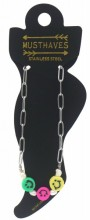 H-C18.3 ANK2126-025S S. Steel Anklet Smileys SilverH-C18.3 ANK2126-025S S. Steel Anklet Smileys Silver