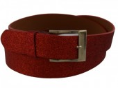 S-E8.1 PU Belt 110x3cm with Glitters Adjustable 85-110cm Red