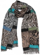 SCARF408-001D Soft Scarf Mixed Animal Print 60x200cm Brown-Grey-Multi
