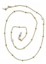 B-F9.3 SGL019 S. Steel Sunglass Chain Pearls Gold