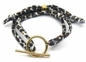 C-F7.3 B2040-006 Animal Print Fabric Bracelet with Stainless Steel Lock Brown-Gold