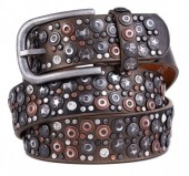 J-B5.2  FTG-060 PU with Leather Belt with Studs-Stars-Crystals 3.5x105cm Bronze