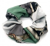 S-C7.1 H305-056B Printed Scrunchie Grey-Green