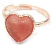 D-C21.1 R1934-009 Adjustable Ring Dark Pink Stone Rose Gold