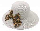 Z-D1.2 HAT504-036A Hat with Leopard Bow Grey
