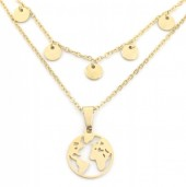 D-C4.3 N301-024G S. Steel Layered Necklace Coins and Worldmap Gold