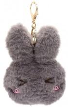 S-E8.2  KY2035-011E Fluffy Keychain Bunny 12x10x3cm Grey