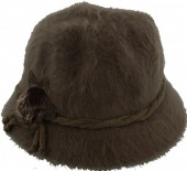 S-C5.3 Woolen Hat with Flower and Fake Fur Pompon Green