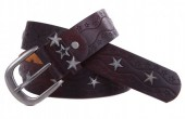 G-A11.1 FTG-063 Leather with PU Belt Stars Brown-Red 100cm