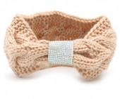 R-N6.2 H114-003 Knitted Headband with Crystals Pink