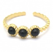 F-D18.2 R2033-006G S. Steel Ring with Stones Adjustable Gold