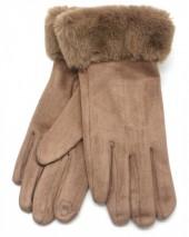 X-J7.1 GLOVE403-011A Soft Gloves with Fake Fur Brown