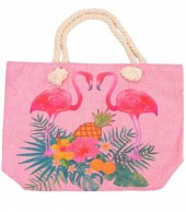 Y-D2.2 BAG213-002 Beach Bag with Flamingos-Leaves and Pineapple Pink