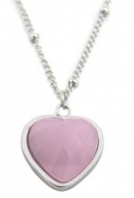 B-E16.2  N1934-009 Stainless Steel Necklace with 20mm Heart with Rose Quartz Silver