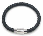 A-G6.1 B1643-001 S. Steel with Leather Bracelet 19cm Black