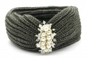 S-I6.1 H401-012C Knitted Headband with Pearls Grey