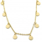 D-D21.3  N1939-017 Stainless Steel Necklace with 5mm Coins Gold