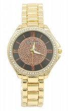 B-E7.4 W003-007 Metal Quartz Watch with Crystals 33mm Gold