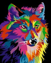 R-A7.1 S140  Diamond Painting Set Colorfull Wolf 50x40cm