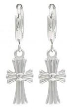 B-B20.2 E2121-017S S. Steel Earrings Cross 1x2.5cm Silver
