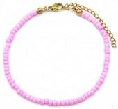 A-C17.6 B2061-001J Bracelet with Glass Beads PinkA-C17.6 B2061-001J Bracelet with Glass Beads Pink