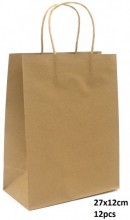 Y-F2.4 PK525-003C Paper Giftbag 27x12cm Brown 12pcs