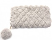 R-K6.1  WA527-001C Fluffy Wallet with Pompon 19x10cm Grey