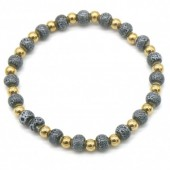 A-A5.2 B2146-014G-D S. Steel with Ceramic Beads Bracelet Grey-Gold