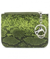 K220-006 Keychain Wallet Snakesking with Creditcard Pocket 12x9cm Green