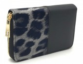 Q-O6.2 WA420-002 PU Wallet with Leopard print 15x10cm Grey