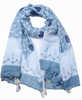 X-D2.1 SCARF509-001B Scarf with Tassels Anchors and Hearts 180x80cm Blue