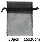 A-G11.1 Organza Gift Bag 15x20cm Black 50pcs