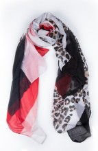 X-F3.2 SCARF507-014D Animal Print 180x90cm Black-White-Red-Pink