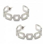A-E9.2 E2033-015 S. Steel Earrings Chain 4cm Silver