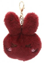 S-H8.2 KY2035-011A Fluffy Keychain Bunny 12x10x3cm Red