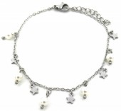 F-C4.1  B1939-005 Stainless Steel Bracelet 5mm Stars and Pearls Silver
